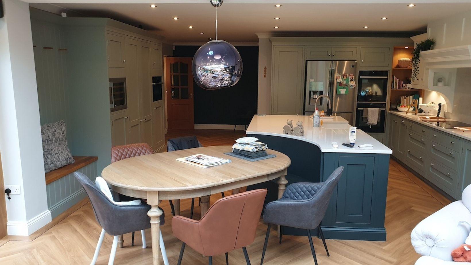 shaker, wood panelled wall customer kitchen