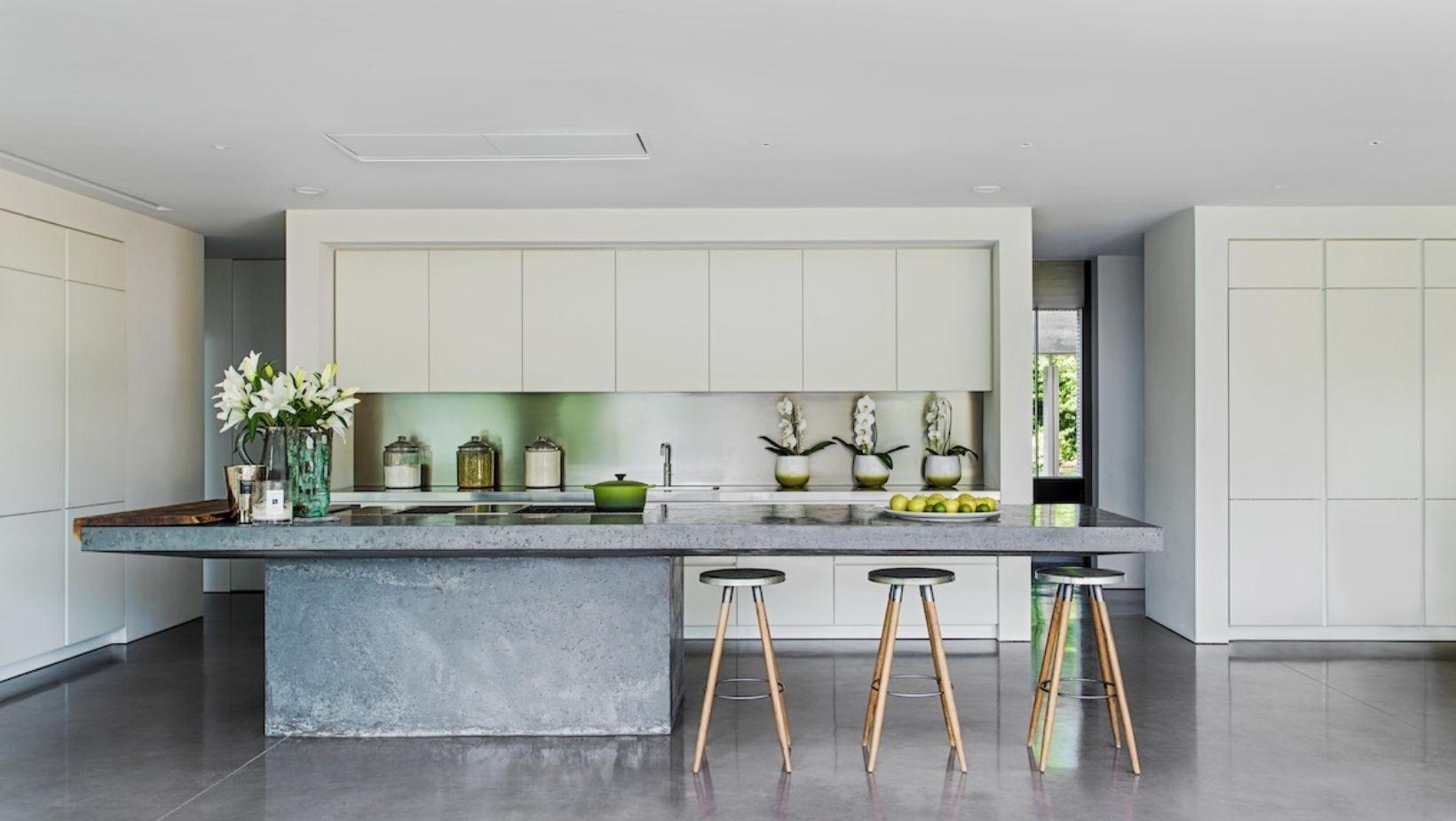 concrete island, award winning customer kitchen